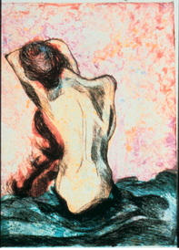 nude figure, drypoint etching over monoprint